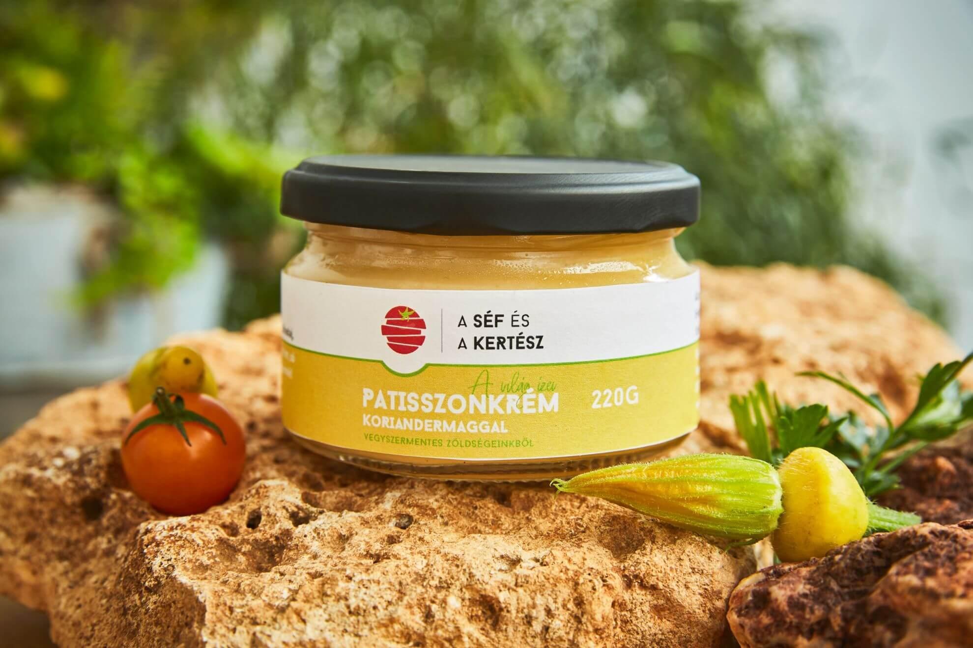 patiszonkrém – koriandermaggal – kézműves termék – a séf és a kertész
